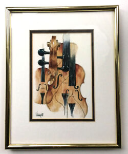 Nice violin viola cello framed water colour print