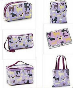 Purple Tote Cosmetic Bag Train Case Coin Wallet Clutch Purse 6PC