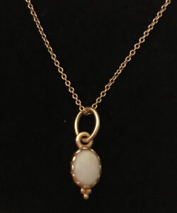 PANDORA genuine 14k Opal Pendant (retired) and chain