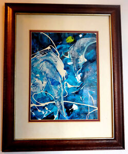 ABSTRACT ART ORIGINAL PAINTING - FRAMED Universe  ACRYLIC BLUE