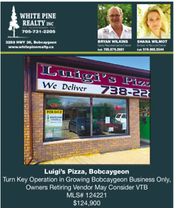 Own Your Own Turn-Key Pizzeria In Bustling Bobcaygeon!