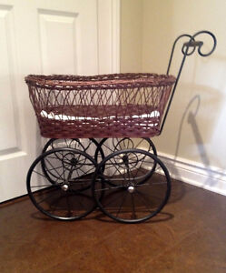 Vintage Wicker and Wrought Iron Baby Carriage