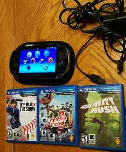 Ps vita with 3 games and memory card