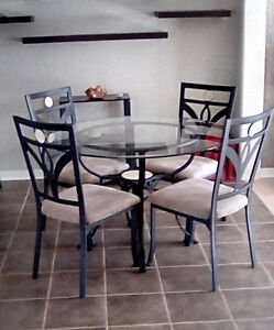 Glass and Metal Dinette set