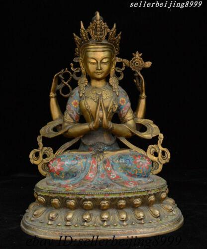China Tibet Buddhism Bronze Cloisonne 4 Arms Avalokitesvara Boddhisattva Statue
