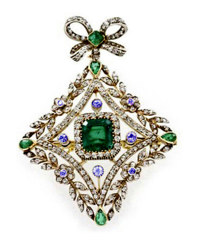 ANTIQUE ROSE CUT DIAMOND 3.12ct SILVER EMERALD SAPPHIRE BROOCH & PENDANT JEWELRY