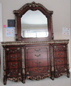 Antique Mable Top wooden dresser with mirror