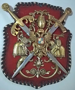 Vintage Medieval Two Swords Coat Of Arms Wall Hanger Leather