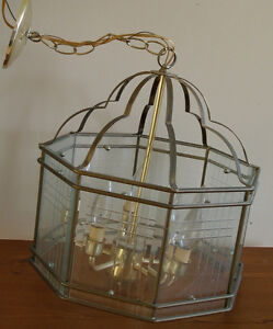vintage ceiling light with bevelled glass