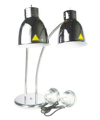 Sliver Dual Food Heat Lamp 2 Bulb Restaurant French Fries Fried Warmer 110v