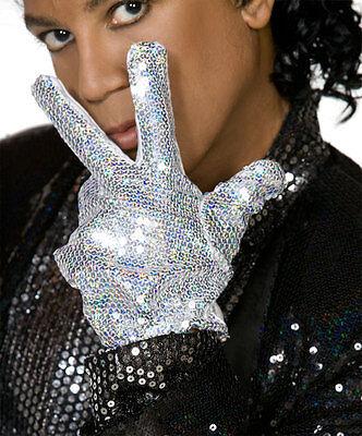 Michael Jackson Handschuh Kostüme (Michael Jackson Pop Star Pailletten Handschuh - Kostüm Verkleidung Zubehör U36)