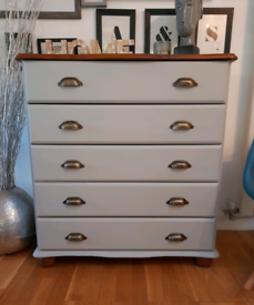 Beautiful Refurbished Dove Grey Dresser Chest of Five Drawers