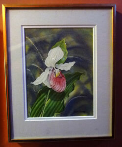"Original Watercolor by Joan Tovey ""Lady's Slipper"" 1980's"