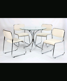 Brand New Glass Chrome Dining Table with 4 PU Chairs