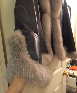 Danier Leather Jacket with real Fox fur London Ontario image 1