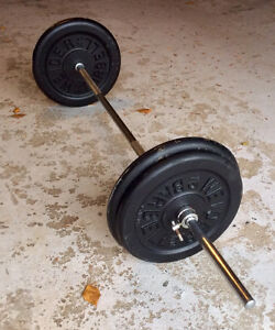 """Standard 1"""" Weights, 176Lbs total, on a barbell 5'7""""WEIDER brand"""