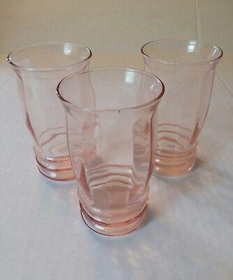 MACBETH EVANS PINK DEPRESSION GLASS JUICE TUMBLERS PILLAR OPTIC RIPPLE lot of 3