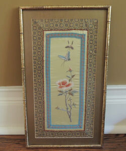 Oriental Silk Embroidered Framed Tapestry