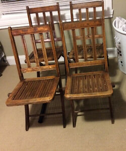 Unaltered solid wood primitive folding chairs   Very sturdy set