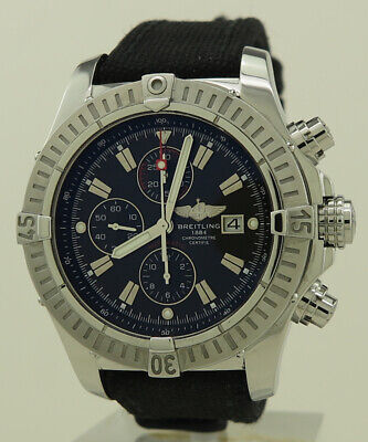 Breitling A13370 Steel Auto 48mm Black Dial With Red Trim Super Avenger Chrono