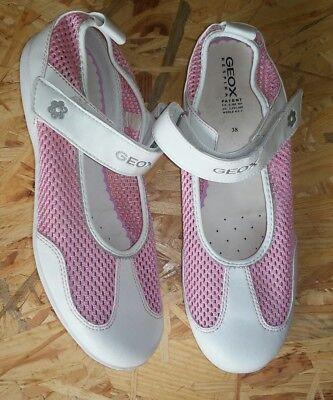 Geox Ballerinas Damen 38 weiß rosa glitzer NEU m Etik Lochmuster Klettband oben