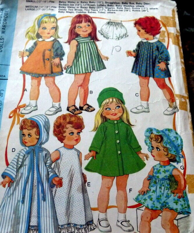 """GREAT VTG 1960s 17""""-20"""" DOLL CLOTHING SEWING PATTERN"""