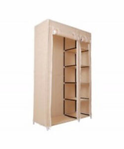 "Beige 69"" Portable Closet w/ 5 Shelves / Wardrobe Organizer"