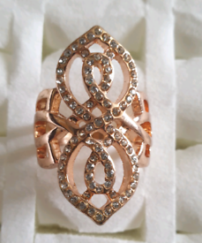 Brand new rose gold plated with time gem stones, ring