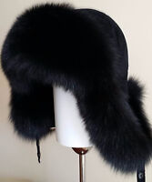 FUR HAT, UNISEX: BLACK ARCTIC FOX, BLACK LEATHER,SIZE L