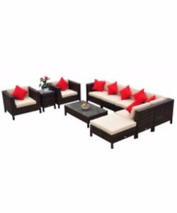 9pc Outdoor Rattan Sectional Patio Furniture Set - Cream/Brown