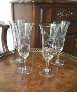Vintage Etched Glass Champagne Flutes - Set of 4 Glasses