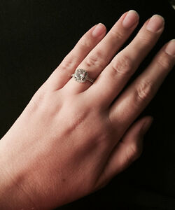Sterling Silver Halo cut CZ Ring