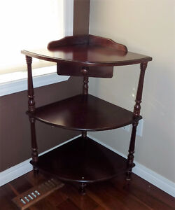 Vintage Corner Table 3 shelf with drawer