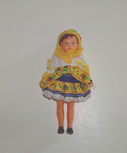 Vintage German Soft Rubber Jointed Ethnic 4 Inch Doll