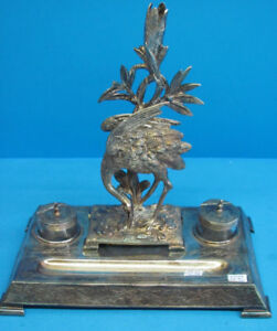 Large Silver-Plated Inkwell - Ostrich - 2 Glass Wells