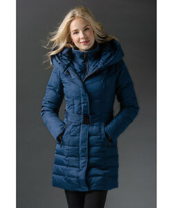 New CLEO Navy Long Winter Down Filled Quilted Coat Jacket - XL Cambridge Kitchener Area image 4