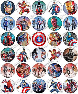 30 x Captain America Civil War Party Edible Rice Wafer Paper Cupcake Toppers