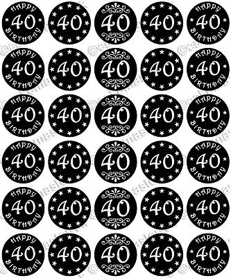 HDAY Edible Wafer Paper Cupcake Toppers BLACK RED PINK BLUE (Happy Birthday 40th)