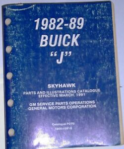 1982 - 1989 Buick J body Skyhawk all models parts & Illustration