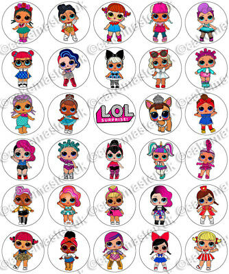 30 x LOL Surprise Dolls L.O.L Fun Party Edible Rice Wafer Paper Cupcake Toppers