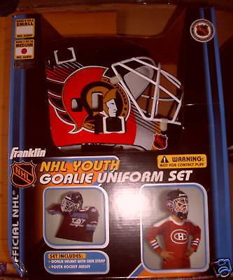 Ottawa SENATORS M Hockey Goalie Mask Jersey Uniform NEW Franklin NIB Costume