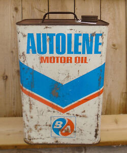VINTAGE 1967's B/A AUTOLENE MOTOR OIL (2 IMPERIAL GALLON) CAN