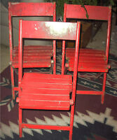 Set of Three Vintage Wooden Folding Chairs