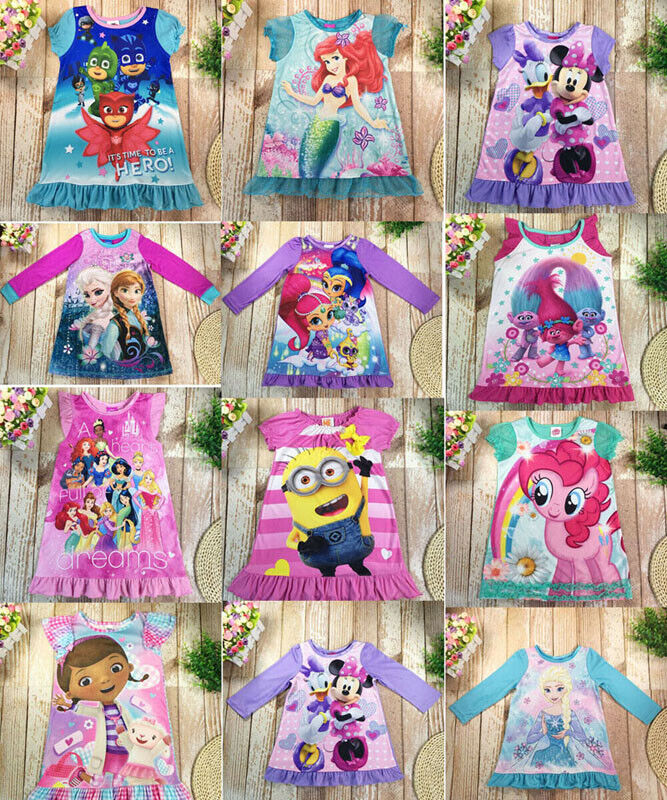 Toddler Kids Baby Girl  Skirt dress Cartoon Clothes Top Size 2t-10