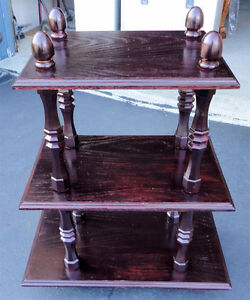 Solid wooden cherry clooured three tier bookcase shelving unit London Ontario image 8