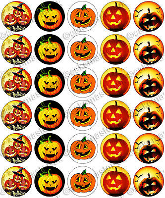 30 x Halloween Scary Pumpkins Party Edible Rice Wafer Paper Cupcake Toppers (Halloween Pumpkins Edible)