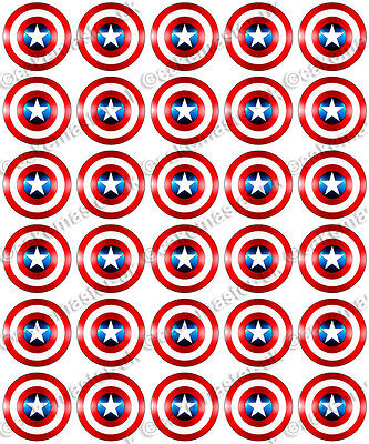 30 x Captain America Shield Party Edible Rice Wafer Paper Cupcake Toppers
