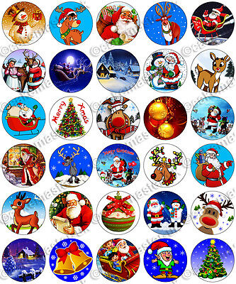 30 x Christmas Xmas Party Edible Rice Wafer Paper Fairy Cupcake Toppers ()