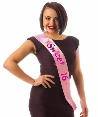 16th Happy Birthday Party Pink Girl Flashing Sash