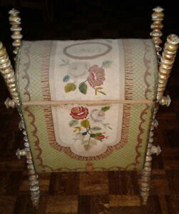 1864 Sewing or storage box. Rose embroidery.